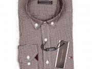 Мужская рубашка коричневая в клетку TOMMY HILFIGER TH3010