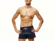Seobean Мужские пляжные шорты т-синие с надписью SEOBEAN