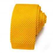 Молодежный вязаный галстук насыщенного желтого цвета 822890