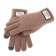 Вязаные мужские перчатки с тачскрином (Перчатки для сенсорных экранов) бежевые