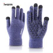 Вязаные мужские перчатки с тачскрином IWARM (Перчатки для сенсорных экранов) сиреневые