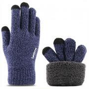 Вязаные мужские перчатки с тачскрином (Перчатки для сенсорных экранов) синие