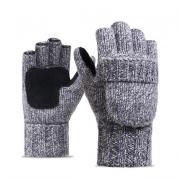 Шерстяные мужские перчатки + варежки, серые