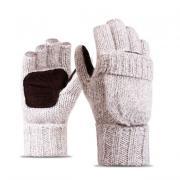 Шерстяные мужские перчатки + варежки, бежевые