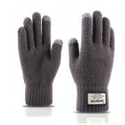 Вязаные мужские перчатки с тачскрином (Перчатки для сенсорных экранов) серый