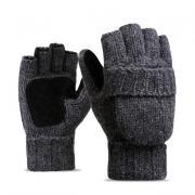 Шерстяные мужские перчатки + варежки, темно-серые