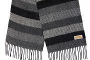 Шарф Шерстяной шарф, мужской серо-черный 30501