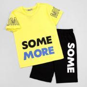 Костюм летний для мальчика, желтая футболка/черные капри, р. 116