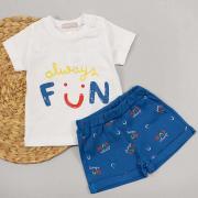 Костюм летний для мальчика, белая футболка FUN/синие шорты, р. 80