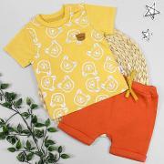 Костюм летний для мальчика, горчичная футболка с мишками/терракотовые шорты, р. 74