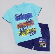 Костюм летний для мальчика, футболка ментол (пальмы)/синие шорты, р. 98