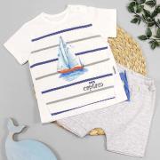 Костюм летний для мальчика, серая футболка с корабликом/серые шорты, р. 68