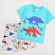 Костюм летний с динозаврами для мальчика (футболка+шорты), цв. ментол/серый, р 98 (3)