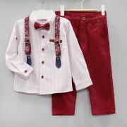 Костюм нарядный с галстуком-бабочкой для мальчика, цв. Бордовый, р. 86