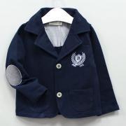 Пиджак для мальчика, трикотажный с вышивкой, цв. Темно-синий, р. 104