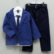 Костюм-тройка нарядный с галстуком для мальчика, цв. синий/темно-синий, р 122