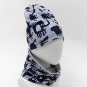 Комплект (шапка,снуд) для мальчика, цвет серый, размер 50-54