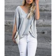 Жен. Блуза V-образный вырез Однотонный Желтый M