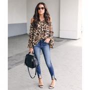 Жен. Блуза С открытыми плечами Уличный стиль Леопард Коричневый L