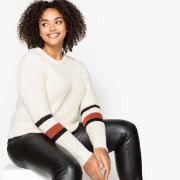 Пуловер La Redoute С круглым вырезом из плотного трикотажа 46/48 (FR) - 52/54 (RUS) бежевый