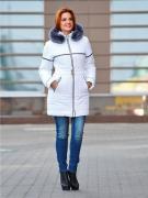 """Пальто женское """"Юнона - МЕХ"""", цвет белый, размер 46"""
