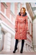 """Пальто женское """"Сабина - МЕХ"""", цвет коралловый, размер 50"""