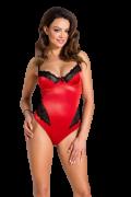 Роскошное боди Lauren с кружевными элементами, красное с черным