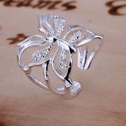 Жен. Синтетический алмаз Обручальное кольцо кольцо для большого пальца Хрусталь Бабочка Животный принт Дамы Роскошь Открытые Модные кольца Бижутерия Серебряный Назначение Свадьба Повседневные