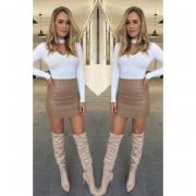 Women Ladies Sexy Bandage Leather High Waist Pencil Bodycon Hip Short Mini Skirt