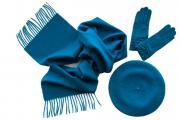 Комплект (берет, шарф, перчатки) голубой 00001