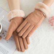 Теплые велюровые женские перчатки с тачскрином (зимние перчатки для сенсорных экранов) рыжие 011