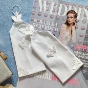"""Свадебные перчатки для невесты """"Радость бабочек"""" (белый)"""