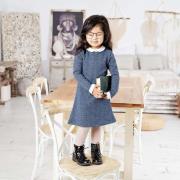 Платье повседневное А-силуэта для девочки ( воротничок, манжеты), р. 92-98