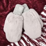 Варежки для девочки двойные, серый, размер 14