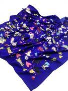 Платок женский шёлковый кошки синий 080423
