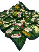 Платок женский шёлковый кошки зеленый 090424