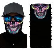 Бесшовная бандана-труба-шарф-маска, череп, фиолетовы, violet skull, в подарочной упаковке GF 5423