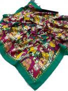 Платок женский шёлковый кошки с зеленой каймой 0080427