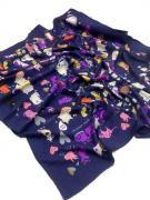 Платок женский шёлковый кошки синий 080424