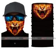 Бесшовная бандана-труба-шарф-маска, огненный тигр, fire tiger, подарочная упаковка GF 5412