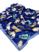 Платок женский шёлковый кошки синий 090422