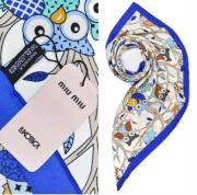 Платок женский шёлковый белый-синий M0006