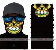 Бесшовная бандана-труба-шарф-маска, череп майя, maya skull, подарочная упаковка GF 5422