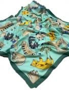 Платок женский шёлковый кошки зеленый 090423