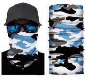 Бесшовная бандана-труба-шарф-маска, камушляж 14, бело-голубой, camouflage, подарочная упаковка GF 5440