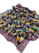 Платок женский шёлковый кошки с сиреневой каймой 0080429