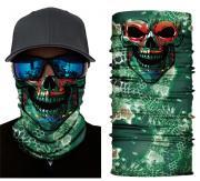Бесшовная бандана-труба-шарф-маска, зеленый череп с чешуей, green skull scales, подарочная упаковка GF 5419