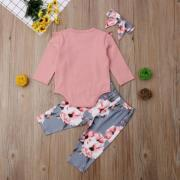 Newborn Kids Baby Girls Flower Top Romper Long Pants Headband Outfits Clothes UK