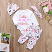 4x Newborn Baby Girl Daddys Valentine Top Romper Long Pant Outfits Clothes Set