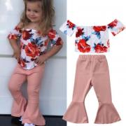 Summer Kids Baby Girl Flower Off-shoulder Top T shirtBell Bottoms Outfits Set